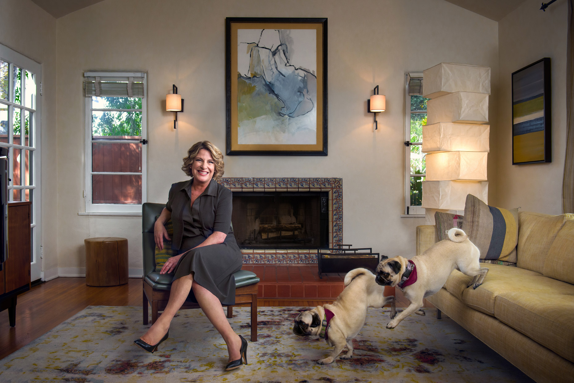 barbara-hall-and-her-pugs-for-the-producers-guild-magazine